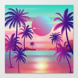 Sunset Palm Trees Vaporwave Aesthetic Canvas Print