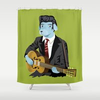 rockabilly Shower Curtains featuring The Rockabilly Dog by Oliver Lake