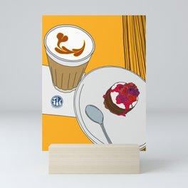 Cafe Latte and a Cake Mini Art Print