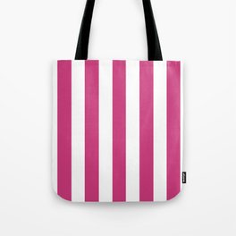 Fuchsia purple - solid color - white vertical lines pattern Tote Bag