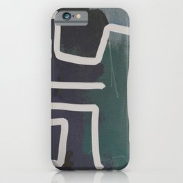 Muted Blue and Green Painting with Abstract White Line iPhone Case