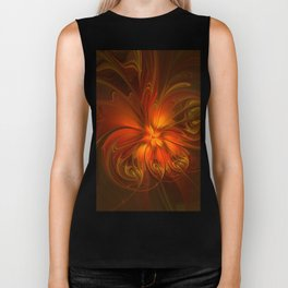 Burning, Abstract Fractal Art With Warmth Biker Tank