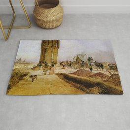 Rush Hour Traffic On The National Road 1850 by Rudolf von Alt   Reproduction Rug