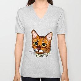 Toyger Cat face Cats orange cute funny gift comic Unisex V-Neck