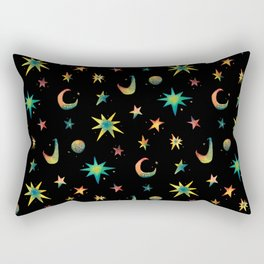 Colorful Watercolor Stars and Moons Pattern Rectangular Pillow