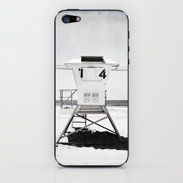 Black and White Beach Photography, Grey Lifeguard Stand, Gray Coastal Nautical Art iPhone Skin