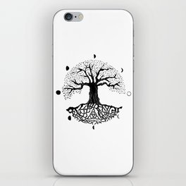 black and white tree of life with moon phases and celtic trinity knot II iPhone Skin
