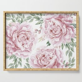 Girly Pastel Pink Roses Garden Serving Tray