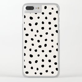 Modern Polka Dots Black on Light Gray Clear iPhone Case