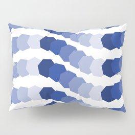 Monochromatic Blue Heptagon Waves Pillow Sham