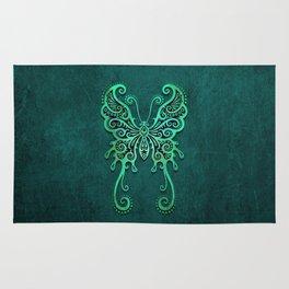 Intricate Teal Blue Vintage Tribal Butterfly Rug