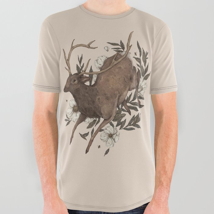 Floral_Elk_All_Over_Graphic_Tee_by_Jessica_Roux___Large