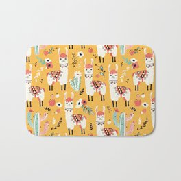 White Llama with flowers Bath Mat