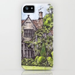 Old English Manor House ink & watercolor illustration iPhone Case