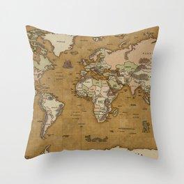 World Treasure Map Throw Pillow