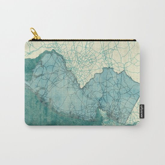 New Jersey State Map Blue Vintage Carry-All Pouch