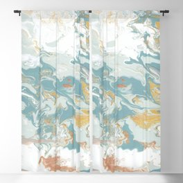 Marble - Grey, Blue, & White Blackout Curtain