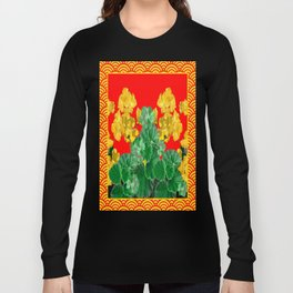 Golden-Yellow Floral's Red Pattern Abstract Long Sleeve T-shirt