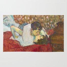 """Henri de Toulouse-Lautrec """"In Bed. The Kiss"""" Rug"""