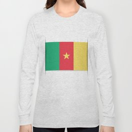 Flag of Cameroon.  The slit in the paper with shadows.  Long Sleeve T-shirt