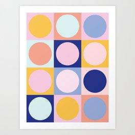 Colorful Circles in Squares Art Print