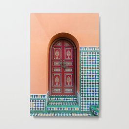 Moroccan Tile Mosaic Door in Marrakech, Morocco Metal Print