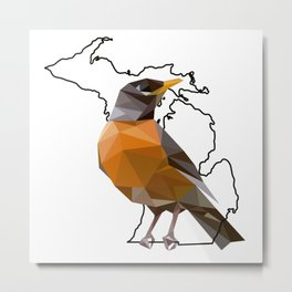 Michigan – American Robin Metal Print