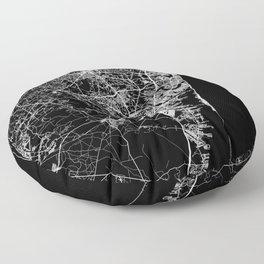 Jersey Shore, New Jersey Map Art (Black) Floor Pillow