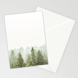 arial forest print, tree top print, wall art, woodland print, forest print, arial fog tree phoo Stationery Cards