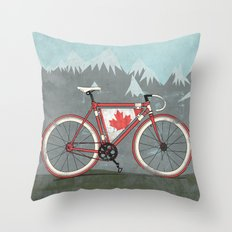 Love Bike, Love Canada Throw Pillow