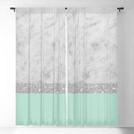 White Marble Mint Silver Glitter Stripe Glam #1 #minimal #decor #art #society6 Blackout Curtain