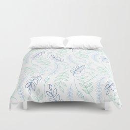 Modern blue green teal watercolor floral leaves Duvet Cover