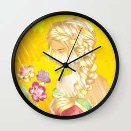 Golden Sad Girl Wall Clock