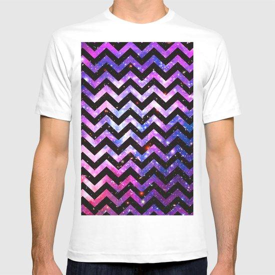 Girly Chevron Pattern Cute Pink Teal Nebula Galaxy T-shirt
