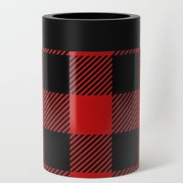 Western Country Woodland Christmas Cottage Primitive lumberjack Buffalo Plaid Can Cooler