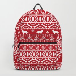 Border Collie fair isle christmas red and white holiday sweater dog breed gifts Backpack