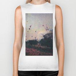 Bird Silhouettes On The Fields / Glitch Utopia Biker Tank