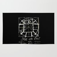 da vinci Area & Throw Rugs featuring Kot da Vinci (black) by Katja Main