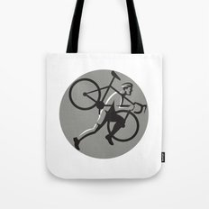 Cyclocross Athlete Carrying Bicycle Circle Retro Tote Bag
