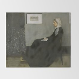 Whistlers Mother Oil Painting by James McNeill Whistler Throw Blanket