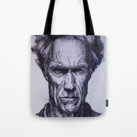 clint eastwood Tote Bags featuring Clint Eastwood by Bronsolo Illustration