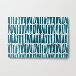 Pale Blue Vertical Dash Stripe Line Pattern on Tropical Dark Teal Inspired by Sherwin Williams 2020 Trending Color Oceanside SW6496 Metal Print