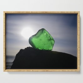 EMERALD GREEN SEA GLASS SUNSET Serving Tray