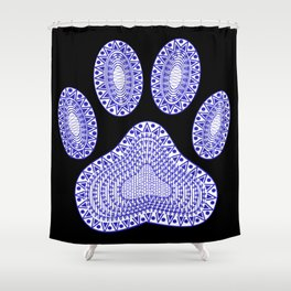 Blue Ink Dog Paw Shower Curtain