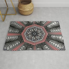 Abstract Artwork 9 coral colour - doodling style Rug