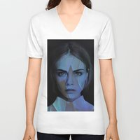 cara delevingne V-neck T-shirts featuring Cara Delevingne  by TRUANGLES