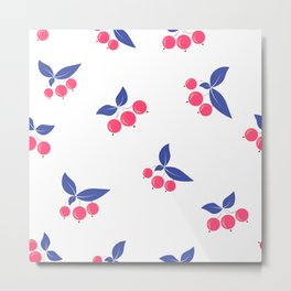 Seamless floral berry cherry pattern on white background Metal Print