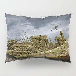 Boat Shipwreck on the Beach Shore Pillow Sham