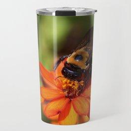 Bumblebee On Zinnia Travel Mug