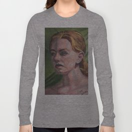 Oil paint on canvas painting of the portrait of a nude model Long Sleeve T-shirt